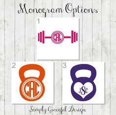 Fitness Decal, Weight Lifting Monogram - Workout Decal - Kettlebell Decal - Fitness Monogram - Fitness Sticker - Barbell Decal - Car Decal by SimplyGracefulDesign on Etsy