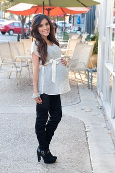 Maternity style: Leather pants and over the knee boots! Find more styling tips at Mychicbump.com