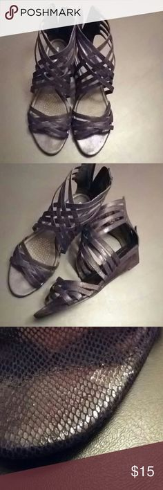 """Gladiator Style Sandals Cute and comfy, true to size, 1"""" wedge heel, slight smudge of nail polish on the left footbed as shown in pic 3. But these are still in excellent condition! Comfortview Shoes"""
