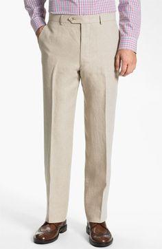 John W. Nordstrom® Flat Front Linen Pants | Nordstrom
