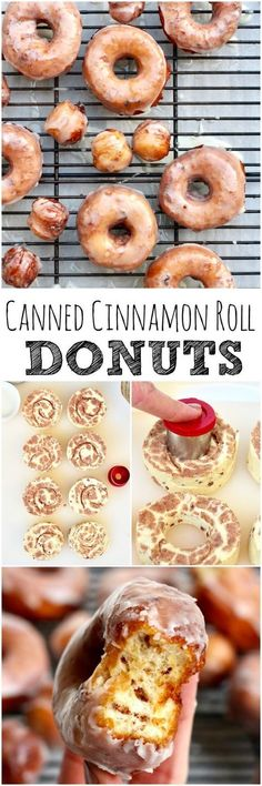 Why choose between cinnamon rolls and donuts when you can have the best of both with these Cinnamon Roll Donuts? A brilliant and tasty twist to your favorite canned cinnamon rolls! Köstliche Desserts, Delicious Desserts, Dessert Recipes, Yummy Food, Tasty, Think Food, Love Food, Churros, Donut Recipes
