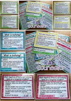 Are you conducting a classroom guidance lesson or have a need in your class to discuss Bullying Prevention? Need an intro activity? An icebreaker? A pretest/posttest? These fun, colorful, Quiz, Quiz, Trade Cards are perfect to help start Elementary School Counseling, School Social Work, School Counselor, Elementary Schools, Counseling Crafts, Group Counseling, Counseling Office, What Is Bullying, Anti Bullying