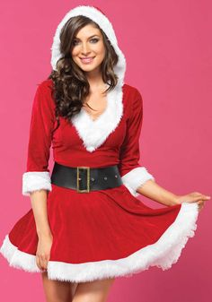 Mrs Claus Hooded Dress Costume