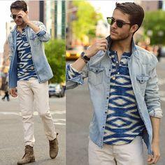 Boho print and denim men's fashion