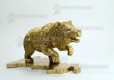 golder russian bear attacking