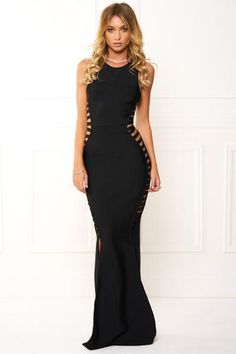 Honey Couture EMMY Black High Neck Cut Out Bandage Maxi Formal Dress