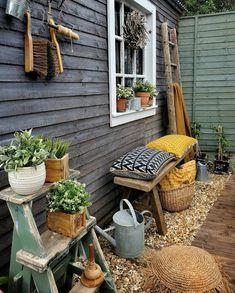 Outdoor Rooms, Outdoor Gardens, Outdoor Living, Outdoor Decor, Bohemian Patio, Woodland House, Cottage Porch, Small Garden Design, Small Patio