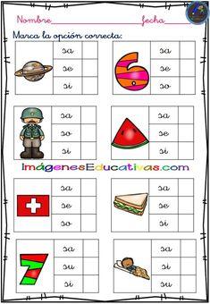 Fichas para trabajar el reconocimiento silábico - Imagenes Educativas 1st Grade Worksheets, Kindergarten Math Worksheets, Dual Language, Spanish Language, Language Activities, Homeschool, Teaching, Education, Phonetic Alphabet