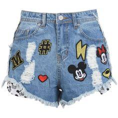 Disney Stars Studios Shorts (985 MXN) ❤ liked on Polyvore featuring shorts, bottoms, pants, blue, blue shorts and zipper shorts