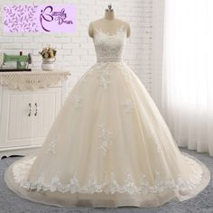 Champagne Applique Tulle Ball Gown Wedding Dress Bridal Gowns Custom Size NEW Tulle Wedding, Cheap Wedding Dress, Wedding Party Dresses, Bridal Dresses, Flower Girl Dresses, Bridesmaid Dresses, Gown Wedding, Tulle Ball Gown, Ball Gowns