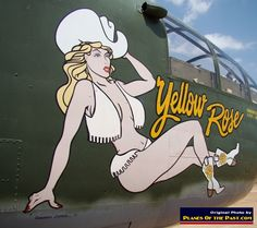 """Nose art on B-25J-5-NC """"Yellow Rose"""", S/N 43-27868, operated by the Yellow Rose Squadron of the Commemorative Air Force (CAF), San Marcos, T..."""