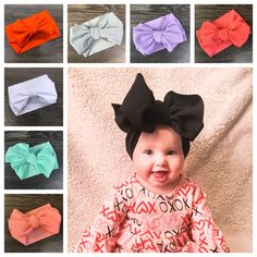 Boutique Baby Girls Set of 3 Mint White Light Yellow Large Hair Bow on Elastic Headband..Perfect for Photo Props Spring Birthdays