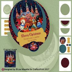 "A rocker card featuring a vintage Russian greeting card that depicts Santa Claus in a horse-drawn sleigh in front of a Russian castle.    Kit includes one topper, one coordinated insert, layers so that you can stack the topper, one card base/rocker, decoupage floral discs with a color layer to place beneath, and 6 sentiment tags: ""Merry Christmas!"" ""Merry Christmas from our castle to yours"" "" Merry Christmas from our family to yours"" ""Season's Greet..."