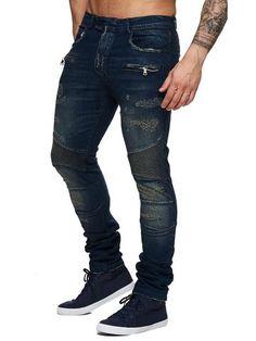 F&S Men Slim Fit Denim BX05 Biker Distressed Jeans - Dark Blue