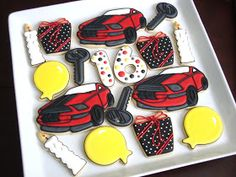 Sweet 16 Cookies~                            By Sugar Bliss, white candles, red car, yellow balloons, black birthday present, black car key, numbers, polka dot