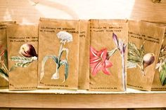 flower seed packages hand made/ collaged