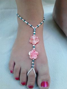 PAIR Beaded Foot'lace Barefoot Sandal Anklet with Two Pink Abalone Flowers Green and White Accents