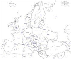 Europe : free map, free blank map, free outline map, free base map : states, names (white)