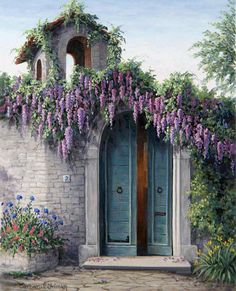 Lovely Climbing Wisteria frames Entryway.-via- Madame Samovar