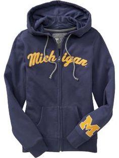 University of Michigan Zip Hoodie Go Blue! School Shirt Designs, School Shirts, Michigan Go Blue, Michigan Gear, Michigan Crafts, U Of M Football, Michigan Wolverines Football, Football Fashion, Go Big Blue