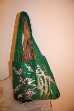 Exclusivo bolso seda salvaje pintado a mano - Merche Serena Ortuño
