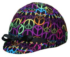 "One of our most popular equestrian riding helmet covers.  The ""Peace"" helmet cover."