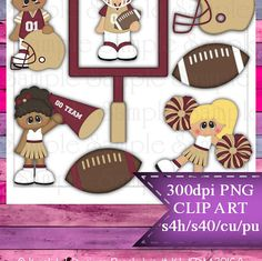 Clipart | Time For Football Gold Burgundy | Kristi W. Designs Reseller |  for Personal & Commercial Use Instant Download
