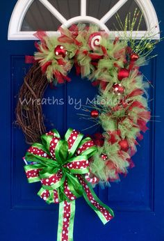 Whimsical red and green Christmas wreath. Wreaths By Michelle