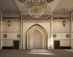 El Zaidan mosque is located in Damam , KSA .Interior design and architectural visualization by me using autocad - max - vray - photoshop .For hamed bn hamri office Architecture Design, Mosque Architecture, Ancient Architecture, Gothic Architecture, Abu Dhabi, Umayyad Mosque, Pharmacy Design, Ceiling Light Design, Grand Mosque