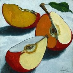 Sliced Apple Still Life Oil Painting by Linda Apple - Art - mini caramel apples Painting & Drawing, Apple Painting, Fruit Painting, Painting Lessons, Art Lessons, Painting Canvas, Canvas Art, Painting Videos, Painting Abstract