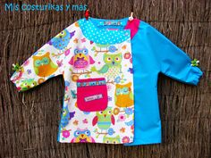 Bata escolar de buhos Baby Boy Outfits, Kids Outfits, Sewing Blogs, Sewing Patterns, Diy, Crafts, Babys, Clothes, School