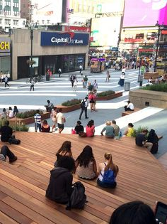 Temporary street furniture at Penn, Plaza, Manhattan, Augsut 2015. If deemed a success it will be repeated in 2016. Click image for link to full story and visit the slowottawa.ca boards >> http://www.pinterest.com/slowottawa