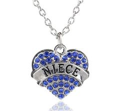NEW! Blue NIECE Crystal Love Heart Pendant Rhinestone Necklace