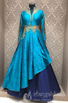 Sightly Navy And Sky Blue Raw Silk Party Wear Readymade Indo Western Gown Party Wear, Party Wear Indian Dresses, Party Wear Kurtis, Indian Gowns Dresses, Kurti Designs Party Wear, Salwar Designs, Indian Designer Outfits, Indian Outfits, Designer Dresses