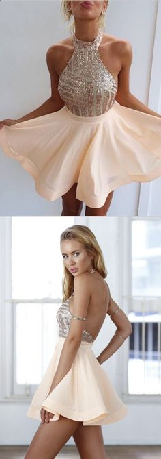 Sexy A-line Halter Chiffon Sequins Above-knee Homecoming Dress/Cocktail Dress