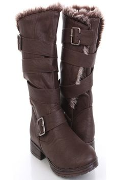 eca73004eb5 Brown Faux Leather Strappy Buckle Faux Fur Boots   Sexy Clubwear