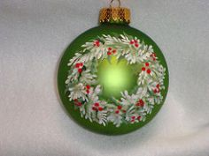 Holly wreath ornament | by pbowes1111 Handpainted Christmas Ornaments, Christmas Ornaments To Make, Hand Painted Ornaments, Noel Christmas, Christmas Projects, Christmas Tree Decorations, Holiday Crafts, Christmas Paintings, Holly Wreath