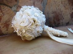 Shabby Chic Wedding Bouquet by MakeSomethingHappen on Etsy, $285.00