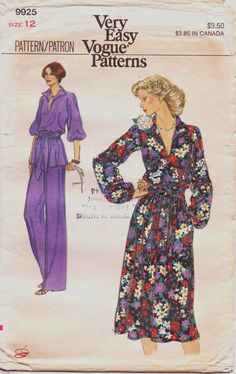 Vintage 70s Very Easy Vogue Pattern 9925 Womens by CloesCloset, $8.00