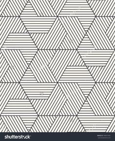 Vector seamless pattern. Modern stylish texture. Repeating geometric background. Striped hexagonal grid. Linear graphic design Monochrome Pattern, Geometric Pattern Design, Hexagon Pattern, Geometric Designs, Geometric Shapes, Stripe Pattern, Art Design, Design Elements, Graphic Design