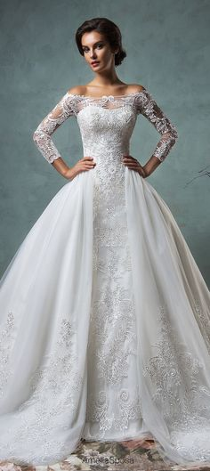 Off-the-shoulder wedding dress by Amelia Sposa 2016 | Belle The Magazine