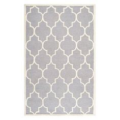 With a neutral silver hue and Moroccan-inspired trellis motif, this hand-tufted wool rug offers eye-catching appeal for your floors.