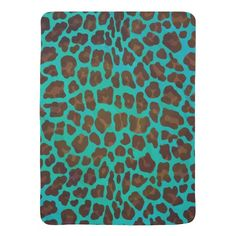 Leopard Brown and Teal Print Stroller Blanket