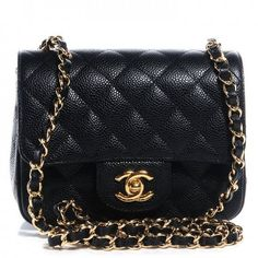 2b591adcbeea CHANEL Caviar Quilted Mini Square Flap Bag Black Mini Chanel Bag