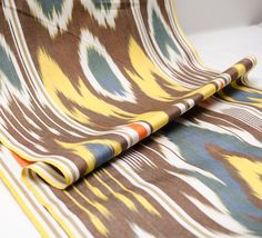 LAST of Yellow brown blue cotton ikat fabric ikat fabric