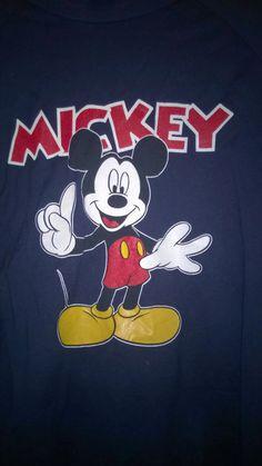 Vintage 90s T shirt MickeyMouse Disney Blue Big Logo MickeyMouse Longsleeve VINTaGE 1990s DISNEY tShirt Blue XS 160cm by VirtageVintage on Etsy