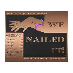 "Nail Salon Sign-Brown-Art Deco-Personalized Metal Signage - This Classy Retro Metal Sign will make a cool addition to your #Nail_Salon  (or personal) interior decor. The central original Art Deco inspired graphic features 2 offset black rectangles w/a pair of graceful manicured hands cut-out to reveal the coppery brown background & the headline ""We Nailed It!"". Plus 14 text fields (for Salon's vitals, Service Menu, etc.) to personalize or clear. #african_american_nail_salon…"