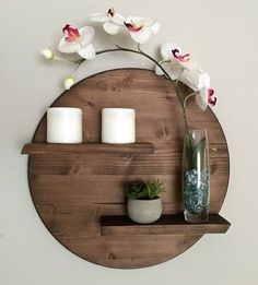 17 Remarkable DIY Round Shelf Designs To Adorn Your Empty Walls Source by per. - 17 Remarkable DIY Round Shelf Designs To Adorn Your Empty Walls Source by - Diy Design, Shelf Design, Wood Design, Interior Design, Luxury Interior, Design Ideas, Diy Wall Shelves, Wooden Shelves, Diy Shelving