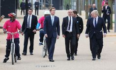 HRH Prince Harry, landscape architect James Corner and Boris Johnson during an official visit to Queen Elizabeth Olympic Park on April 4, 2014