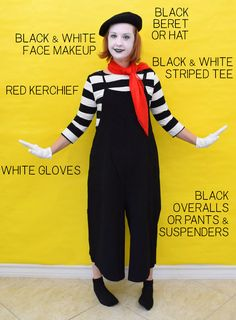 This DIY mime costume is super simple and uses items you probably already have in your closet! It's great for last minute and totally work appropriate! Best Girl Halloween Costumes, Work Appropriate Halloween Costumes, Easy Costumes, Halloween Fun, Costume Ideas, Mime Costume, Circus Costume, White Face Makeup, Mime Makeup